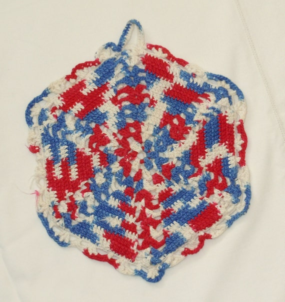 Red Pot Holders: Red White And Blue Pot Holder