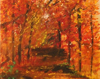 Colors of fall is original acrylic  on 20 x 20 canvas.
