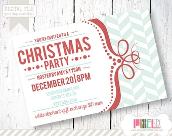 Christmas Party Invitation - Holiday Party Invite - Printable DIY invitation - Retro Chevron swirly frame