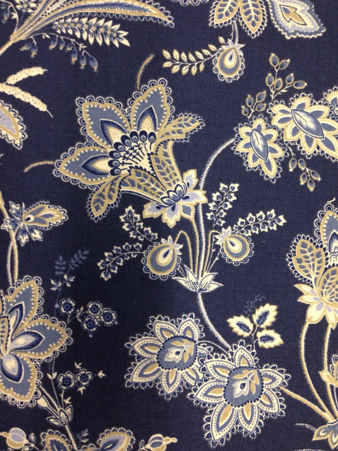 beautiful navy blue white and wheat floral fabric navy. Black Bedroom Furniture Sets. Home Design Ideas