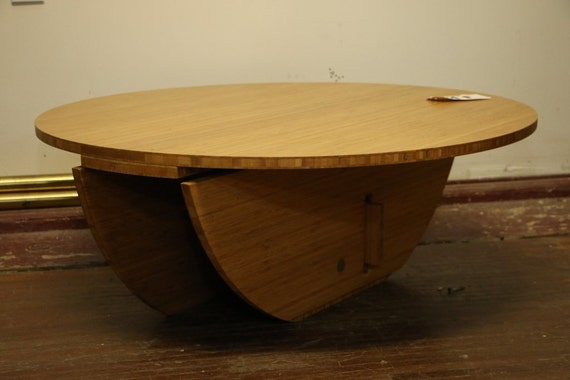 Items Similar To Modern Round Bamboo Coffee Table Unique Puzzle Legs Space Saver On Etsy