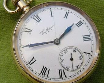Working 9ct Solid Gold Waltham 15 Jewel Fob Pocket Watch Smethwick Interest (2873)