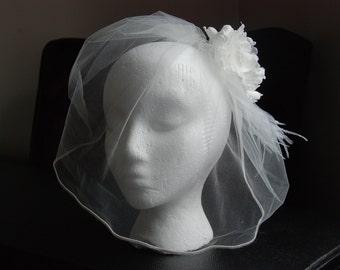 Ivory tulle birdcage veil; ivory tulle blusher veil; ivory veil wtih flower