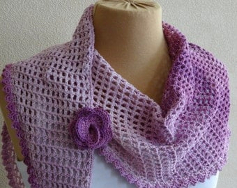 Lilac shawl, shawlette with removable flower brooch.