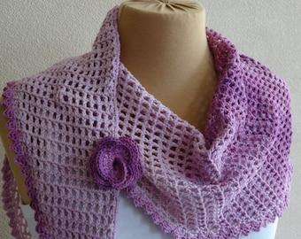 Lilac shawl with optional flower brooch