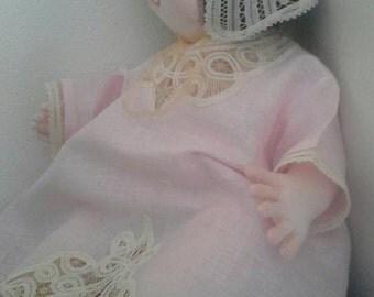 Handmade baby hat, cap, very delicate, fagoting