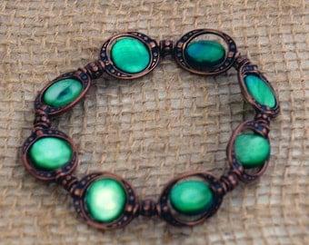 Shipwreck Bracelet: Dyed Lucky Emerald Green Mother-of-Pearl Shell Beads inside Earthy Antique Copper Plated Rings. Mermaid Approved!