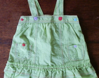 Baby Girl's Vintage Apple Green Linen Pinafore Dress with Heart-Shaped Buttons Age 6-9 Months