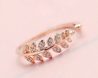 Fern Flora Zircon Rose Gold Ring