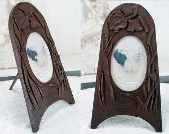 Carved Wood Picture Frame Art Nouveau Floral C1890/1910 . Treen . Iris Flower Bull Rushes . .