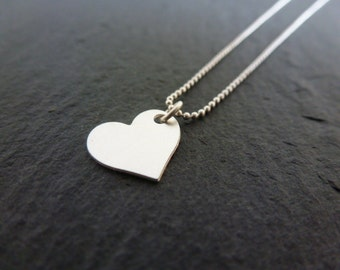 Necklace heart, string balls matte silver