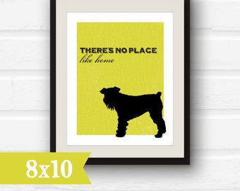 Typography Wizard of Oz art - There's No Place Like Home - graphic art print - 8x10 - sale