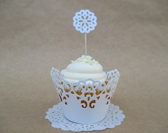 24 Doily Cupcake Toppers or Picks