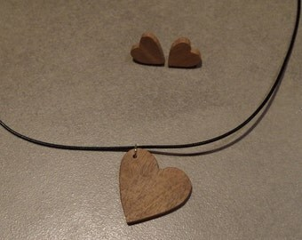 Wood jewel set, necklace + earrings, heart shape in beech