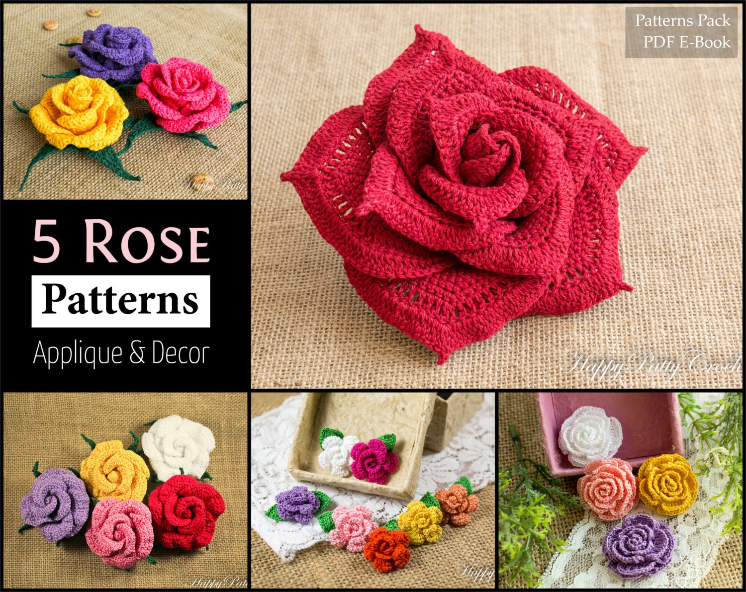 5 Crochet Rose Pattern Bundle All Sizes Mini to Large