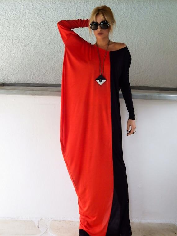 Black & Red Long Sleeve Maxi Dress / Black Red Kaftan /