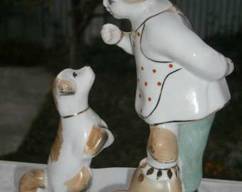 Girl and dog .Well take.The girl with the dog.Porcelain USSR.