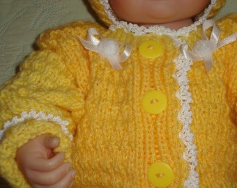 Hand Knitted Baby Dress Set... Dress Booties and Hat...Gold...