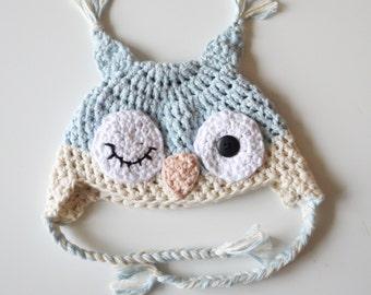 Crochet Winking Owl Baby Hat