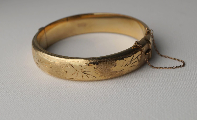 Vintage Gold Cuff Bracelet Engraved Rolled Gold Bangle