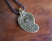 Bohemian Spirit - Brass Leaf Paisley Pendant on Brown Cord - adjustable length.