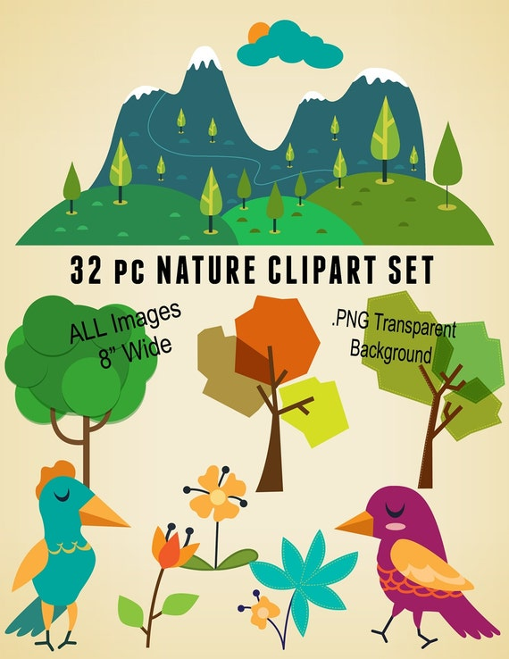 32 pc cute nature clipart digital download scrapbooking kit - Nurture images download ...