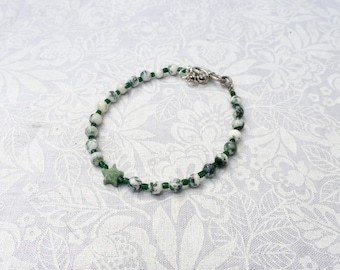 "Tree Agate Stars Bracelet Or Anklet ""OOAK"" Dryads, Nature Spirits, Earth Healer"