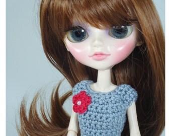 Clothes for Tangkou dolls, custom crochet shirt with flower application