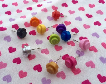 Colorful Round Stud Earrings...Handmade using LEGO® parts
