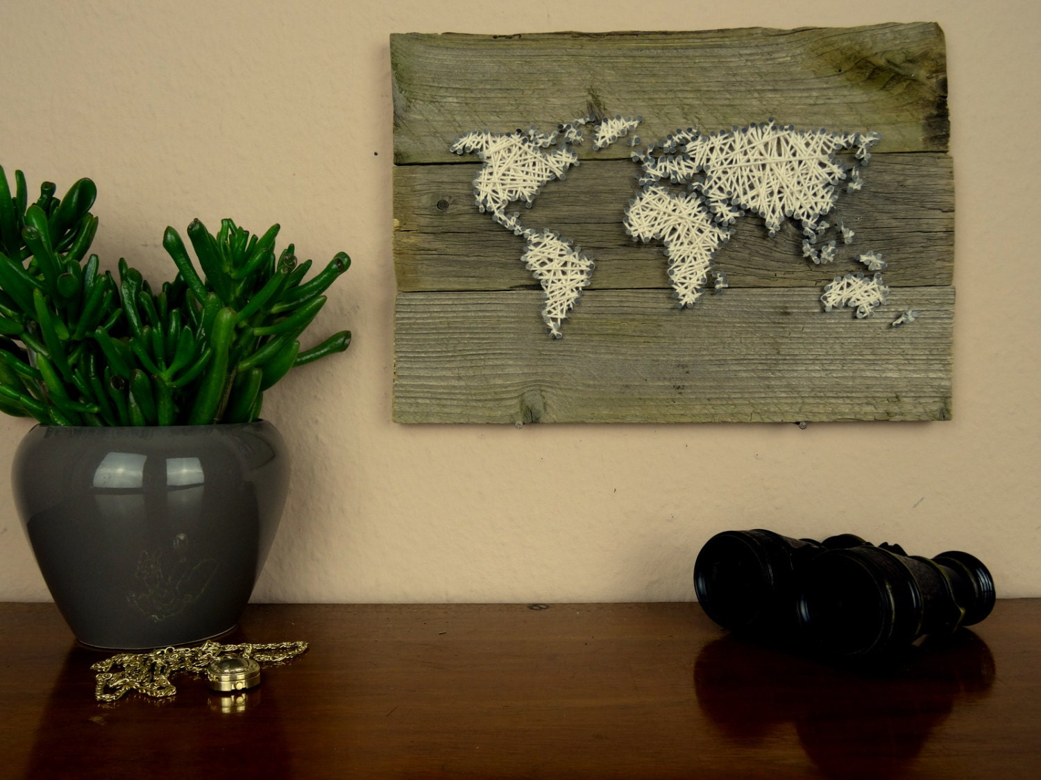 world map wall decal string art map reclaimed wood art. Black Bedroom Furniture Sets. Home Design Ideas