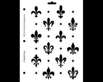 """Fleur de Lis  Background Stencil - 8 1/2"""" x 11"""" - STCL121 by StudioR12"""