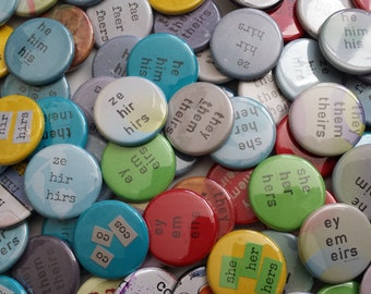 Gender pronoun buttons - resistance buttons fundraising for Trans Lifeline