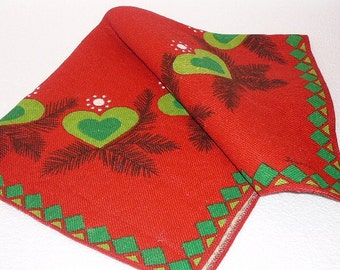 Scandinavian Table Cloth Red Green Hearts Swedish Vintage Textiles, Buhler, Square Table Decor @91