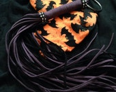 """ON SALE Long 20"""" cute Vegan suede Flogger with black and purple or orange tails perfect for Halloween!  See OPTIONS below"""