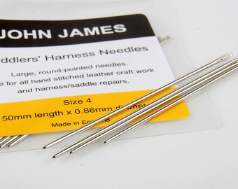 Saddlers nedles Aiguilles Selliers, Leather Hand Sewing Needles,25ea contains a bag.JOHN JAMES - for beading and Leather craft -LTCMLT-242