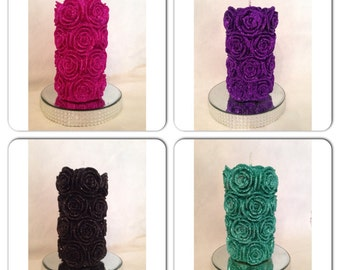 Glitter Rose Pillar Candle / Church Candle / Wedding Candle