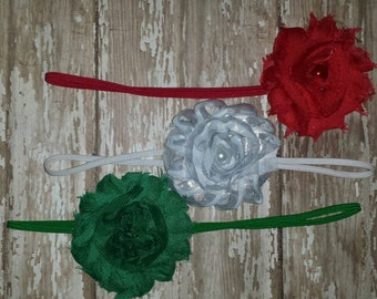 Set of three single shabby flower headbands - Perfect for Christmas!