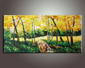 "Large Original Painting 48"" Autumn Landscape Painting Abstract Art Impasto Texture Palette Knife Oil Painting Large Painting Oil Painting"
