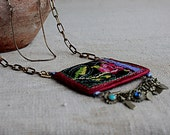 Ethnic tribal charm pendant necklace coin purse for keys and money Beautiful colorless