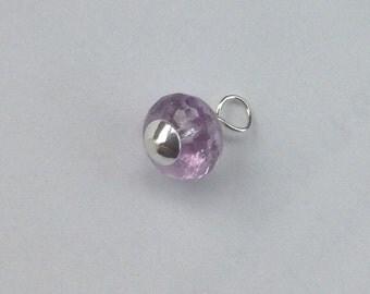 Delicate Light purple Amethyst Pendant- Wire Wrapped Amethyst rondelle, February birthstone, Amethyst Charm, sterling silver,purple gemstone