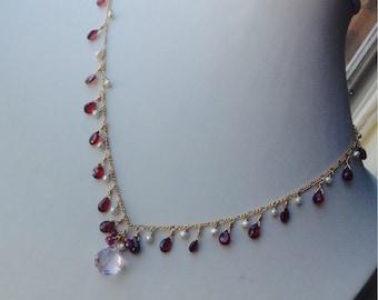 Garnet, Pink Amethyst and freshwater pearl necklace- January birthstone, February birthstone, garnet, amethyst necklace, gold filled