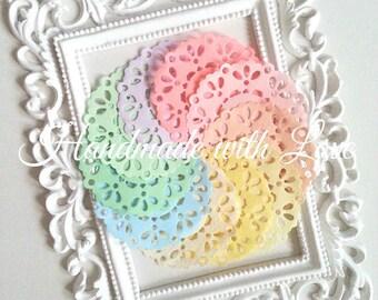 2.3 inches Pastel Paper Doilies, 1 pack of 10pcs sweet pastel colour