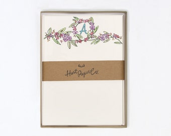 10 Pack - Floral Monogram Stationery Note Cards