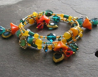 Handmade Orange Quartzite and Glass Bead One Size Memory Wire Charm Bracelet