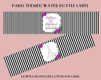 Paris Themed Blank Water Bottle Label - Digital - Download - DIY - Personal - Commercial