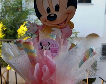 Baby Minnie Mouse Centerpiece with Marshmallows, Birthday party, baby shower centerpiece