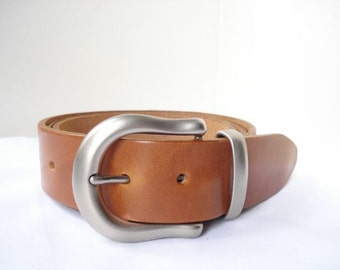 "Tan Leather Belt - 1"" 1/2 - Matt Silver Buckle - Handmade in UK - Tan Belt  - Leather Belt - Men Belt - Wedding Belt - Veg Tan Leather"
