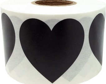 """Large Black Heart Shape Stickers 