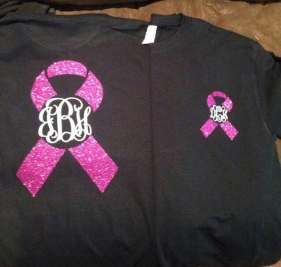 Monogrammed breast cancer awareness shirt for Breast cancer shirts ideas