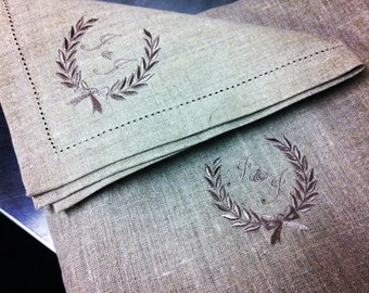 French Linen Monogrammed Table Napkins Set of Two 50 x 50cm Weddings, Anniversaries, Newborns, Housewarmings, Birthdays, Engagements